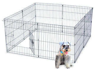 Dog Stainless Steel Mesh Box Playpen Crate Fence 8 Panel 42 inch Tall