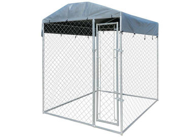 10x10 Chain Link Dog Kennel Metal Flooring With Door And Waterproof Cover