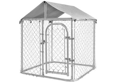Black Chain Link Dog Kennel 10x10x6 Two Doors Large Animal Cage